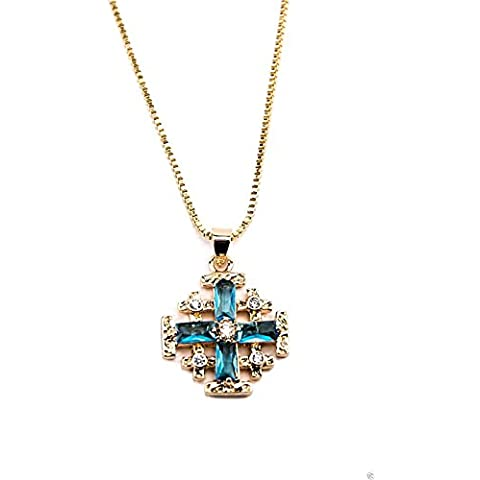 Gold Plated Jerusalem Cross Pendant Necklace Turquoise Aquamarine & Zircon Gems