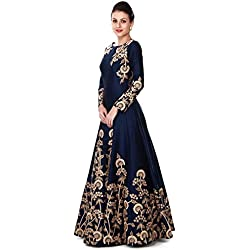 Ethnic Empire Women's Taffeta Silk Anarkali Salwar Suit Set (Eed-Ea10756_Blue_Free Size)