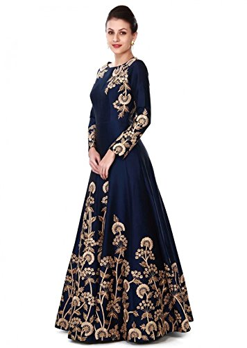 Aryan Fashion Women\'s Taffeta Silk Semi-Stitched Dress Material (Afs-Er-Ewe10756_Blue_Free Size)