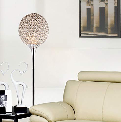 LYX® Crystal Stehleuchte Moderne Suppore LED E27 Sconce Kristall Licht Foyer Lampen Schatten Home Decor Leuchte Studie Raum Beleuchtung zu Hause (Farbe : Chrom-Weißes Licht) - Chrom Moderne Stehleuchte