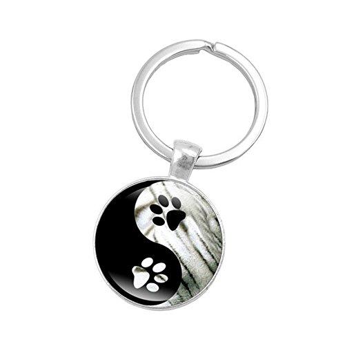 AIUIN Porte-clés Décor Pendentif Sac à main Élégant style rond Tai Chi verre Pour porte-clés Créatif Cadeau Accessoires Décoration 1pcs (Impression de patte de chien)