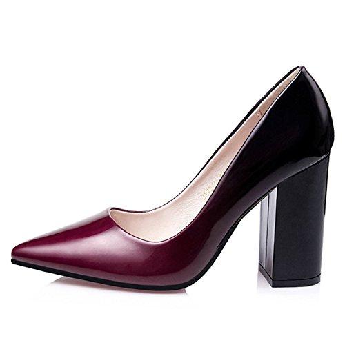 Oasap Women's Pointed Toe High Chunky Heels Dress Pumps Fuchsia