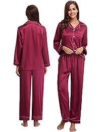 8d6fc900b4778 Abollria Satin Pyjama Damen Nachthemd Lang V-Ausschnitt Zweiteiliges  Schlafanzüge Frauen Hosen Hausanzug Sleepwear Klassische…