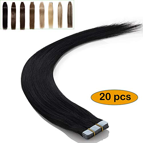 Extension capelli veri adesive naturali #1 jet nero - 20 fasce con biadesivo 100% remy human hair lunghi lisci umani tape in hair extension - 40cm 50g