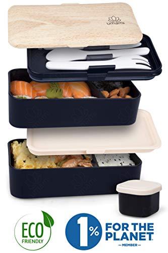 Umami ⭐ Lunch Box Negra Bambú | Bento Box 2 Compartimientos