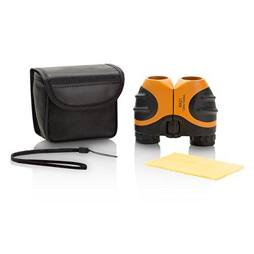 Miniprismáticos de goma compacta 8 x 21, ideal para niños y avistaje de aves, Naranja.