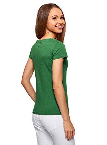 oodji Ultra Damen T-Shirt Basic aus Baumwolle Grün (6E00N)