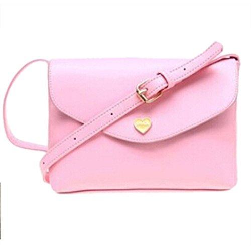TOOGOO(R) Sacchetti di spalla del corpo trasversale delle borse di cuoio delle donne calde di vendita I sacchetti del messaggero di modo dei sacchetti delle piccole donne Rosa caldo Rosa