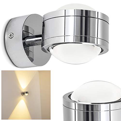 Wand Leuchte in schlichtem Design - IP44 Wandspot - Zeitlose Wandlampe mit 6 Watt im warmweißen Licht - Up and Down Wandspot mit zwei Lichtkegeln oben und unten -