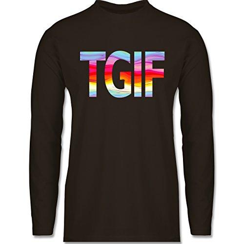Statement Shirts - Thank god it's friday - Longsleeve / langärmeliges T-Shirt für Herren Braun