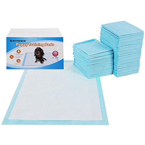 SONGMICS 100 Unidades Empapadores Toallitas Pañales Almohadillas de Entrenamiento para Mascotas Absorbente 90 x 60 cm PTD90B
