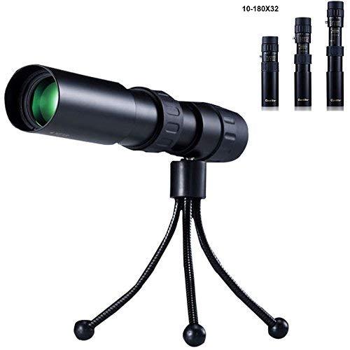 UrChoiceLtd Qanliiy 10-180 x 32 Teleskop, Monokular, für Erwachsene und Kinder,Zoom-Objektiv, mit Nachtsicht, tragbar, wasserdicht, HD, für Vogelbeobachtung, Konzert, Jagd, Überwachung, mit Stativ