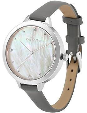 Dictac Damenuhr Wasserdichte Analoge Quarz Zifferblatt Swarovski Kristall Elegant Leder Frauen Armbanduhr (Grau)