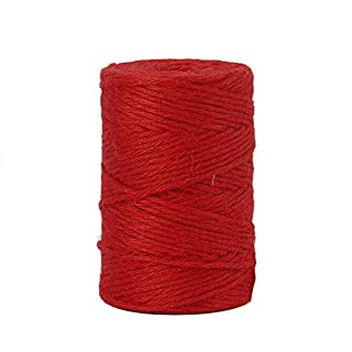 Tenn Well 3mm Jute Twine, 328 Feet Natural Jute String for Gardening, Gift Wrapping, Decoration, DIY Crafts (Red)