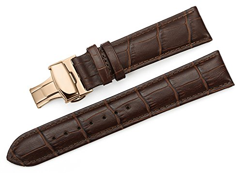 iStrap 22mm Echt Leder Aligator Muster Armband Uhrband Watch Strap mit Roségold Klapp-Verschluss Dornschließe Baun