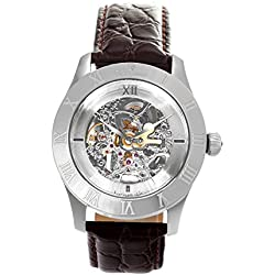 Continuum Men- Skeleton Watch Automatic analog Leather strap Brown - CO15007