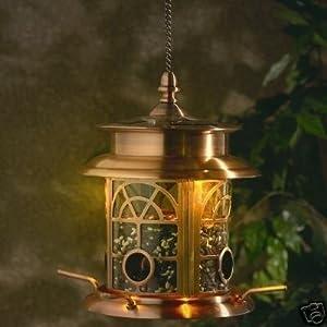 Copper Finish Illuminating Solar Powered Bird Feeder In A Presentation box by GRACIOUS GARDENS GIFTS