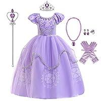MYRISAM Rapunzel Princess Halloween Dress Sofia Costume Deluxe Party Fancy Dress Up for Girls w/Gloves Jewelry Accessories Set 9-10T