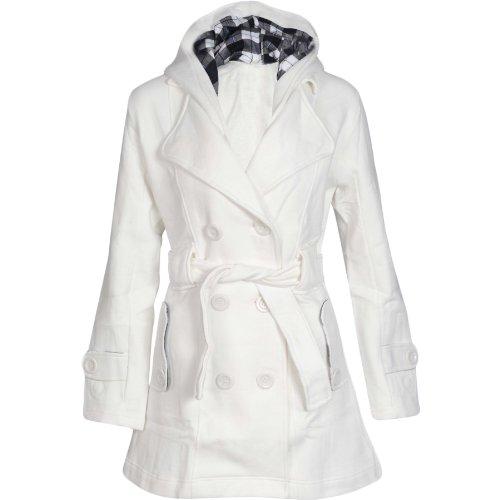 Flirty Wardrobe Veste à capuche avec boutons et ceinture Femme Jaune - Crème