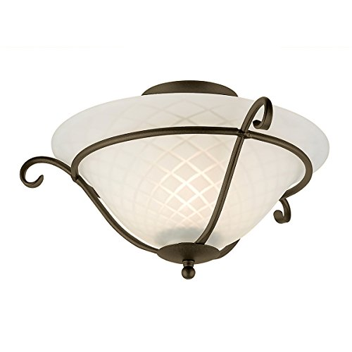 Torchiere 1 Light semi-flush ceiling Light, colore: Nero/Oro