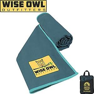 Wise Owl Outfitters Serviette De Camping - Microfibre Ultra Compact Séchage Rapide - Idéal Pour La Remise En Forme, La Randonnée, Le Yoga, Voyage, Sports Et La Salle De Gym