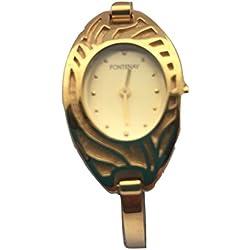 Fontenay Frauen analoge Quarzuhr 18 Karat vergoldet halbsteife Armbanduhr