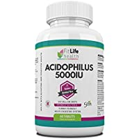 Acidophilus Probiotic Digestive Health Supplement By Fit Life Health - 5 Billion Units - Friendly Bacteria - Balances Intestinal Flora And Promotes Good Digestion - Helps With Bloating And Stomach Disorder - Two Month Supply - Take One A Day To Improve Your Mood And Energy Levels - Made In UK