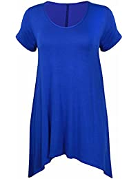 Womens New Plain Uneven Dipped Hem Round Scoop Neck Ladies Short Sleeve Stretch Fit T-Shirt Top