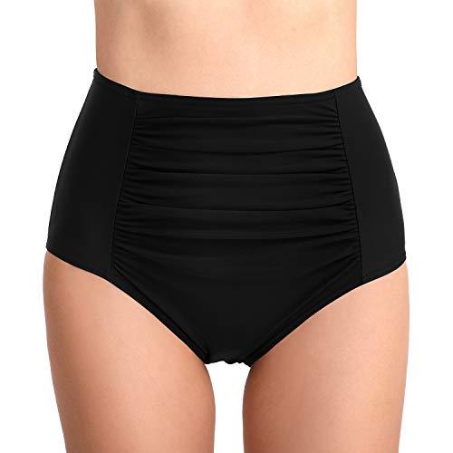 PANAX Damen Mädchen Badehose in Schwarz, Größe XL - Urlaub Bikinihose mit Hoche Taille Design Swimwear Tankinihose