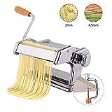 COSTWAY manuelle Nudelmaschine Pastamaschine Pastamaker Spaghetti Nudeln Pasta Maker Küche Maschine Edelstahl Silber | Breite: 2mm und 4,5mm | 6 einstellbare Stärken