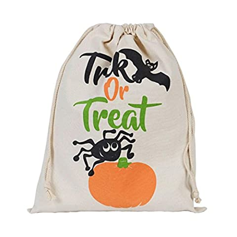 Halloween Sacs-cadeaux Créatif Cordon Toile Sac de Bonbons, QinMM Sac Elastique Sac de Rangement Sac de Voyage (Taille Unique, C)