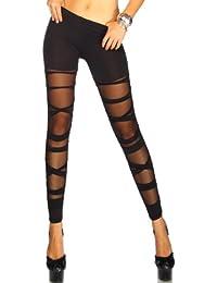 jowiha eyecatcher Leggings im Bandage Look für Damen teiltransparent in Schwarz Größe XS-M/L