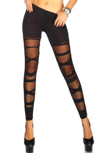 jowiha eyecatcher Leggings im Bandage Look für Damen teiltransparent in Schwarz Größe XS-M/L (Netz-leggins Leggins)