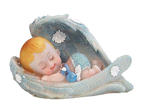 Tortenaufsatz Babyfigur 10cm Baby Junge Engelsflügeln Farbe blau aus Polyresin Taufe Dekoration Tortendeko Kuchenaufsatz Kuchendeko Kindergeburtstag Babyparty Tortenfigur Baby Figur Torte
