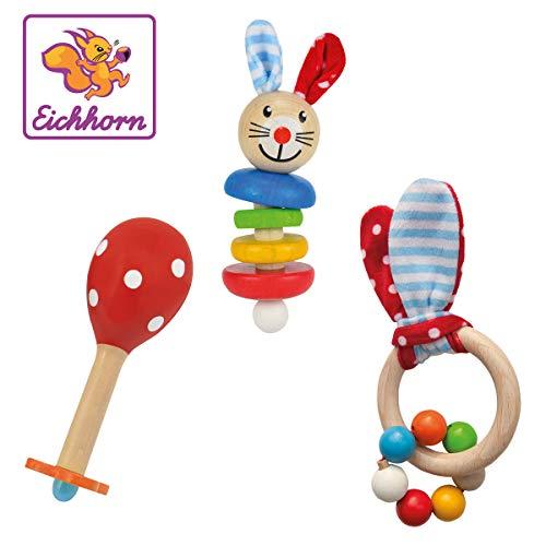 Eichhorn 100017045 - Baby Starter/Geschenke Set mit Maraca, Greifling mit Sound & Greifling mit Hasenmotiv, 3-tlg., FSC 100{77cf69fdd6c80d01907d1cd9d32201c74382a13dfcf8f50be1f14e6424ae2820} Zertifiziertes Buchenholz