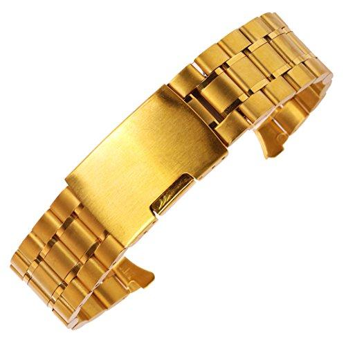 18mm Pulido de reemplazo de la Correa de Reloj de Acero Inoxidable sólido en Cierre de Seguridad ergonómico...