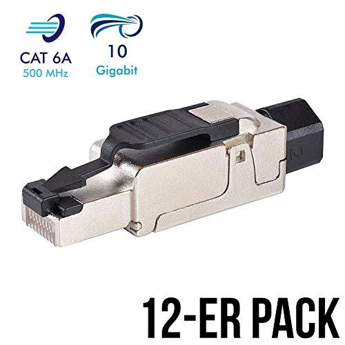 12 Stück Netzwerkstecker RJ45 CAT 6A geschirmt werkzeuglos Steckverbinder LAN Kabel Stecker CAT 7 Patchkabel Netzwerkkabel Toolless Modular Plug