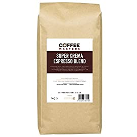 Coffee Masters Super Crema Espresso Coffee Beans 1kg – Intensely Strong Dark Roasted Blend of Arabica and Robusta Whole…