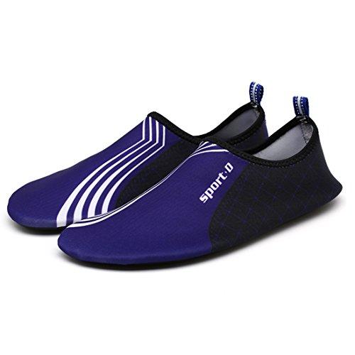 DorkasDE Unisex Strandschuhe Aquaschuhe Aqua Schuhe Atmungsaktiv Schwimmschuhe Surfschuhe Wasserschuhe Badeschuhe für Damen Herren Kinder Blau