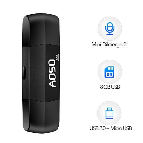 Mini Diktiergerät - 2 in 1 USB Recorder, Digitales Diktiergerät mit 8GB Speicher, Anschluss an Android & PC, Aufnahme Gerät bei Vorlesung/Vortrag/Gespräch/Konferenz, automatische Speicherfunktion