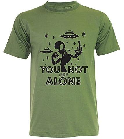 PALLAS Unisex's Alien UFO You Not Alone T-Shirt -PA372 (Jungle Green , L)