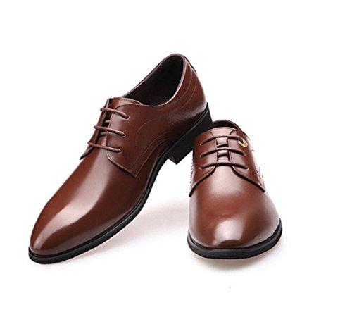 GRRONG Chaussures En Cuir Pour Hommes En Peau De Vache Business Loisirs Robe Habillée Pointue Noir Marron brown