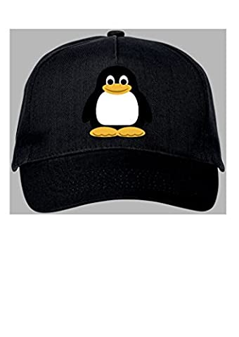 Penguin Black 5 panel baseball cap. Adults. Adjust to
