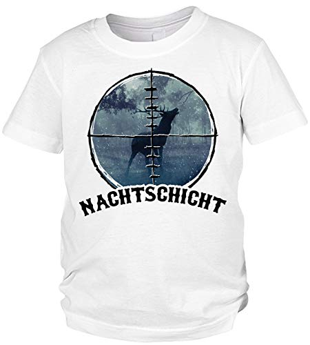 Kinder-Shirt Jäger Motiv/Spruch, Jagdmotiv Hirsch Kind : Nachtschicht - Jagdsport Kinder T-Shirt Bekleidung Gr: M = 134-140