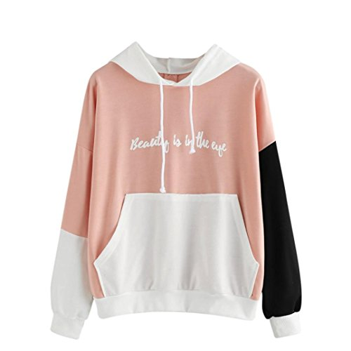 Xinan Kapuzenpullis Langarm Damen Hoodie Sweatshirt Mit Pullover Tops Bluse Stickerei Kapuzen (S, ♀ Rosa)