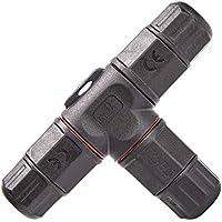 LEBRIGHT T Forma Caja de empalmes de plástico de Impermeable 3 Polos PVC para Cable de Diámetro Ø5mm - 10 mm (Negro,IP67,PVC)
