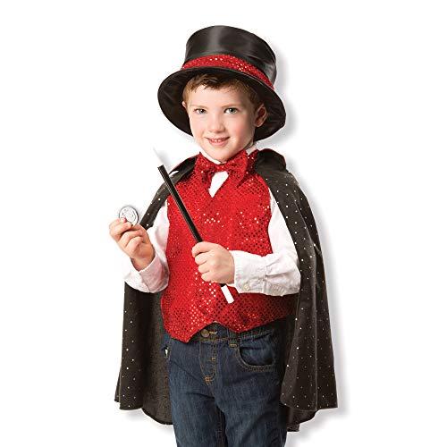 Melissa & Doug- Magician Set Costume e Accessori da Mago per Bambini di 3-6 Anni, Multicolore, 8508