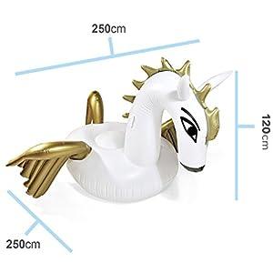 Aufblasbare Matratze Pegasus Luftmatratze Badeinsel Fliegendes Pferd mit Flügeln Matratze Schwimminsel 250x250cm