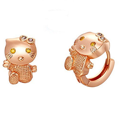 Ohrringe Creolen Hello Kitty Gold Rosa laminiert *