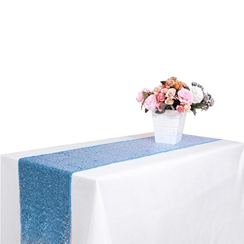 Prevently Brand Happy Bright Shiny Color Fashion Decorative New Sequin Satin Table Runner 30x300cm Glitter Wedding Party Banquet Venue Home Decor (30x300cm, Slight Blue)